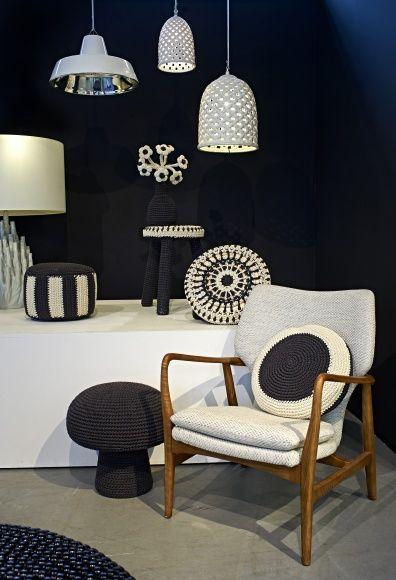 intérieur noir et blanc en crochet