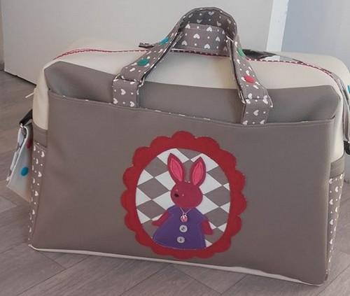 grand sac en simili cuir et coton