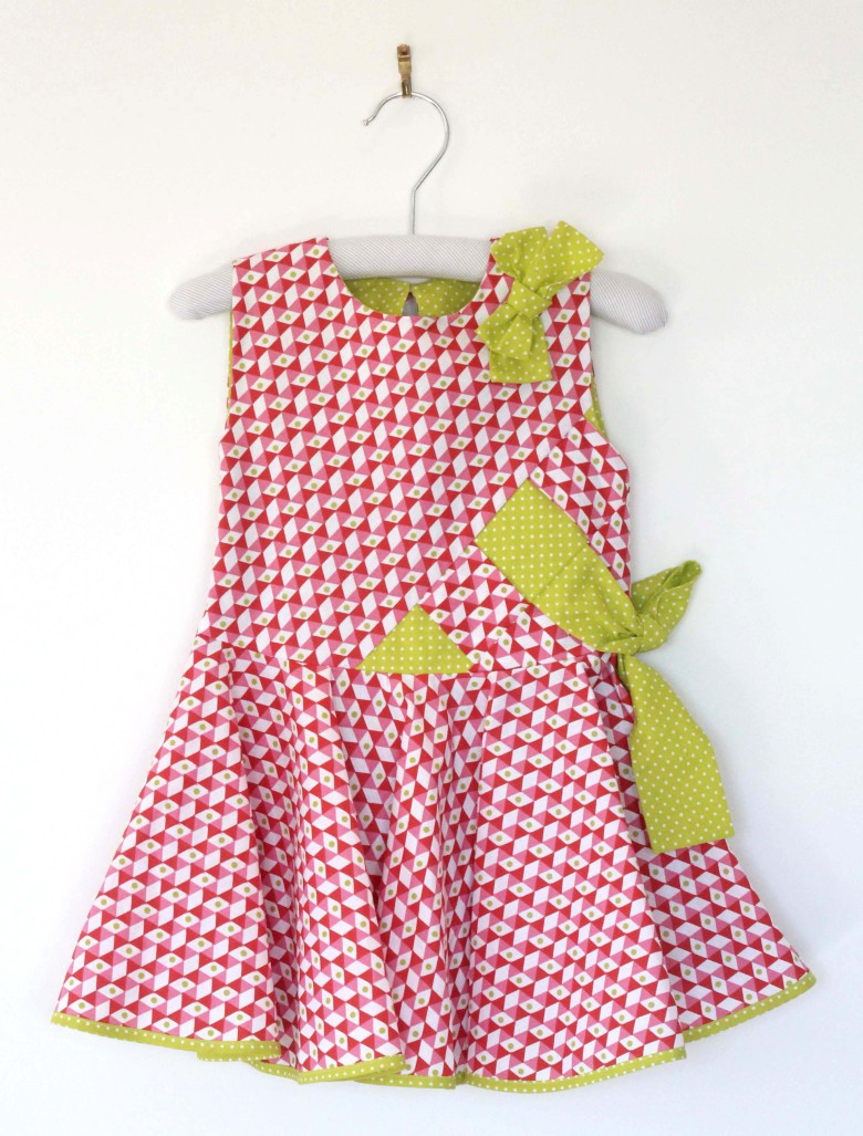 robe enfant tissu rouge et anis