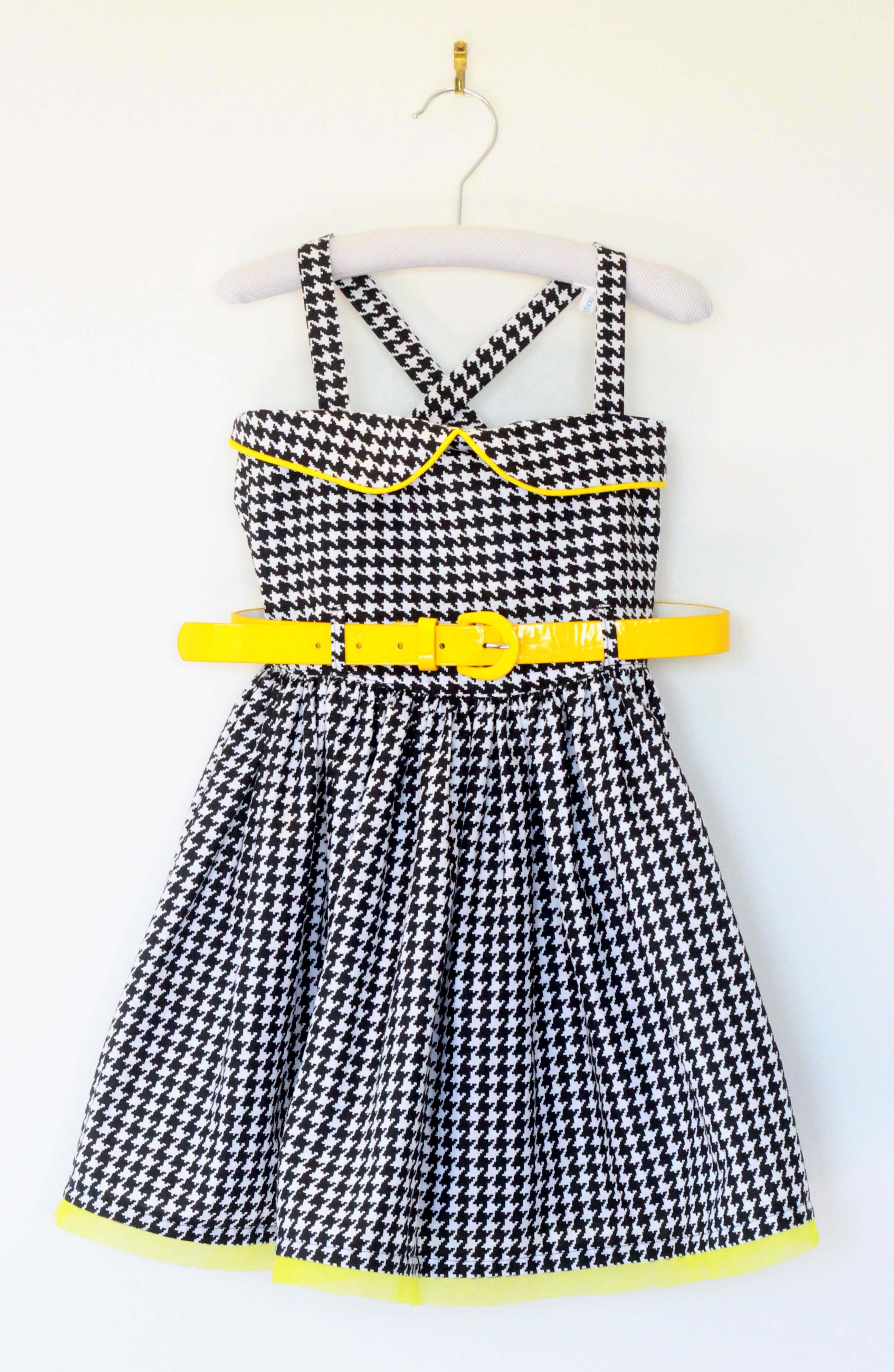 robe tissu pied de poule, passepoil et tulle jaune