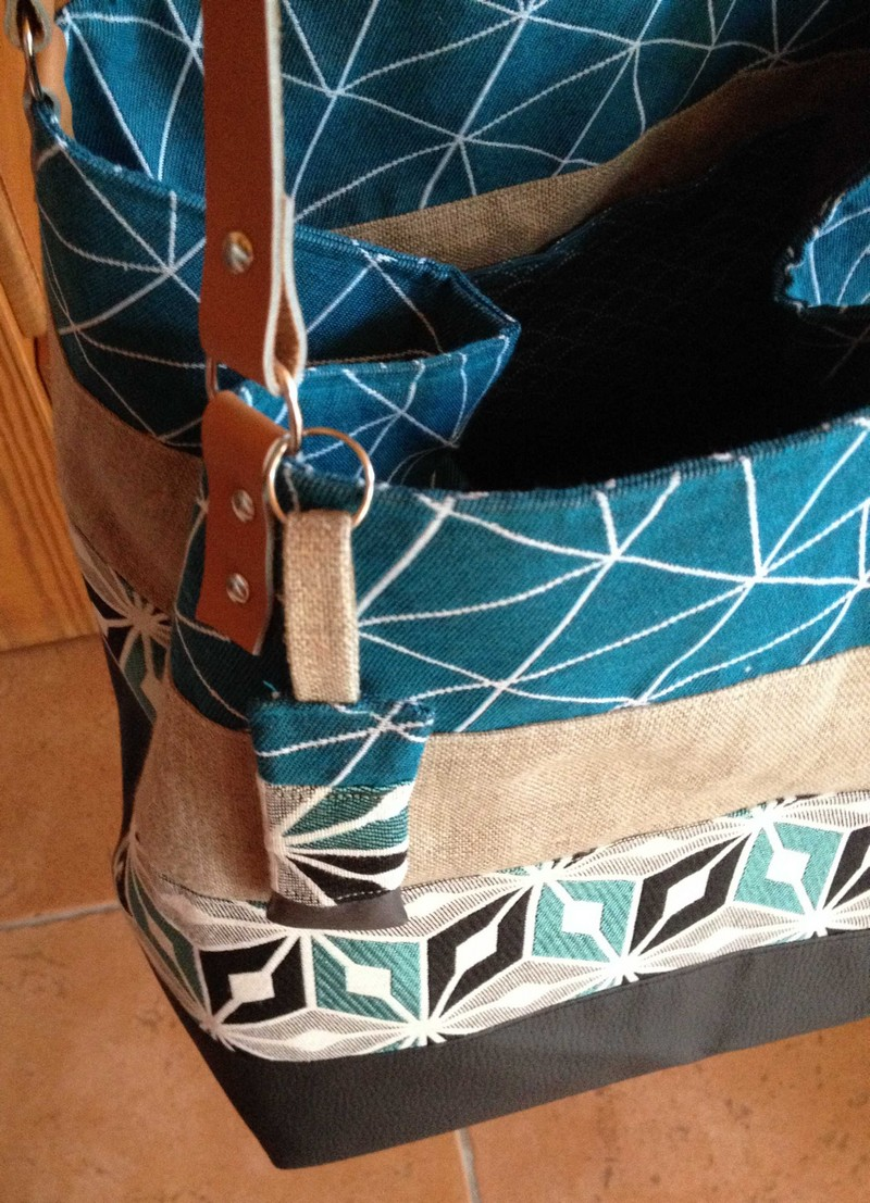 sac carré en lin et cuir