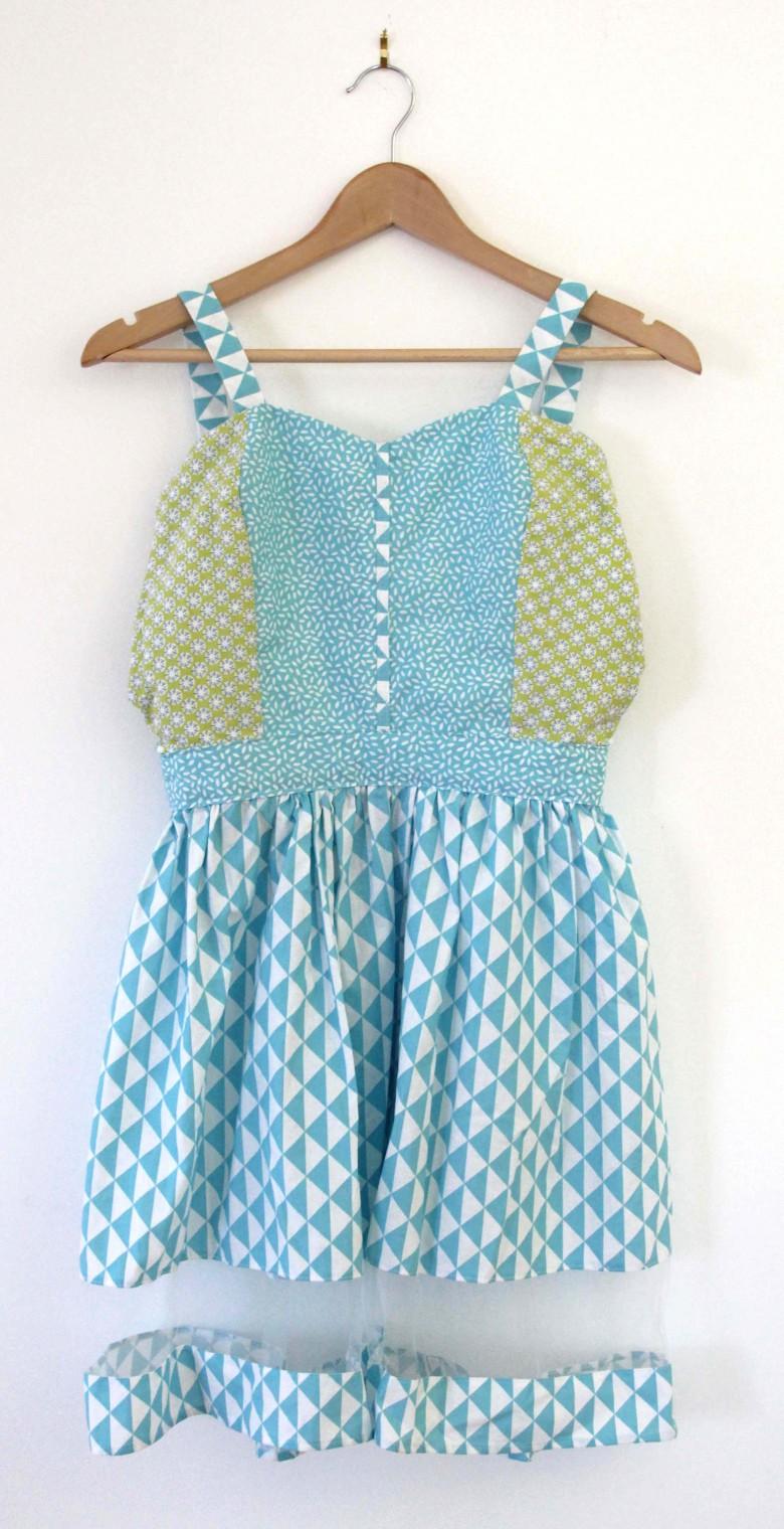 robe femme tissus bleu et vert