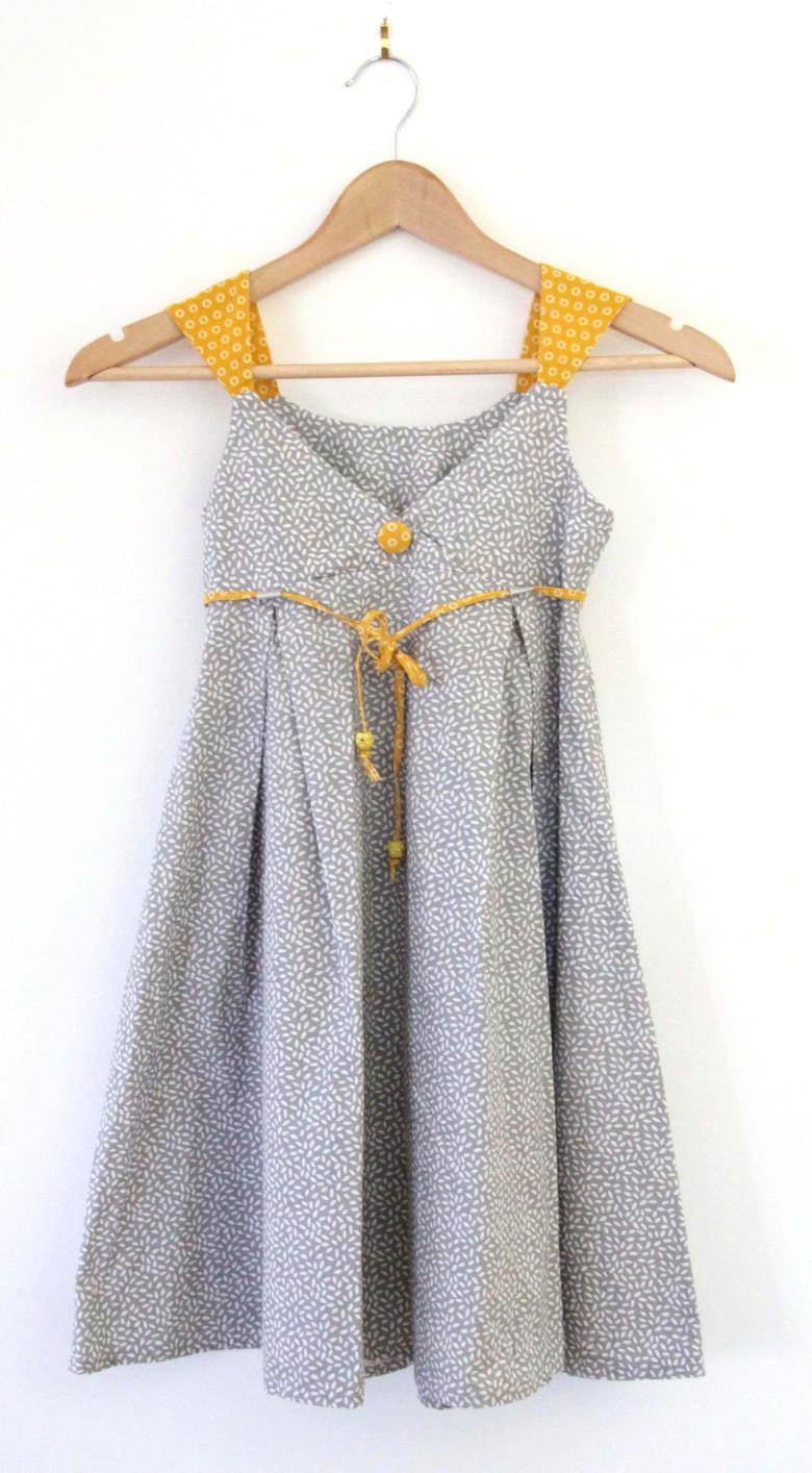 robe femme tissus gris et jaune