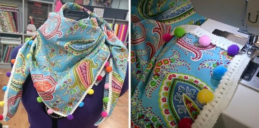 foulard a pompons DIY