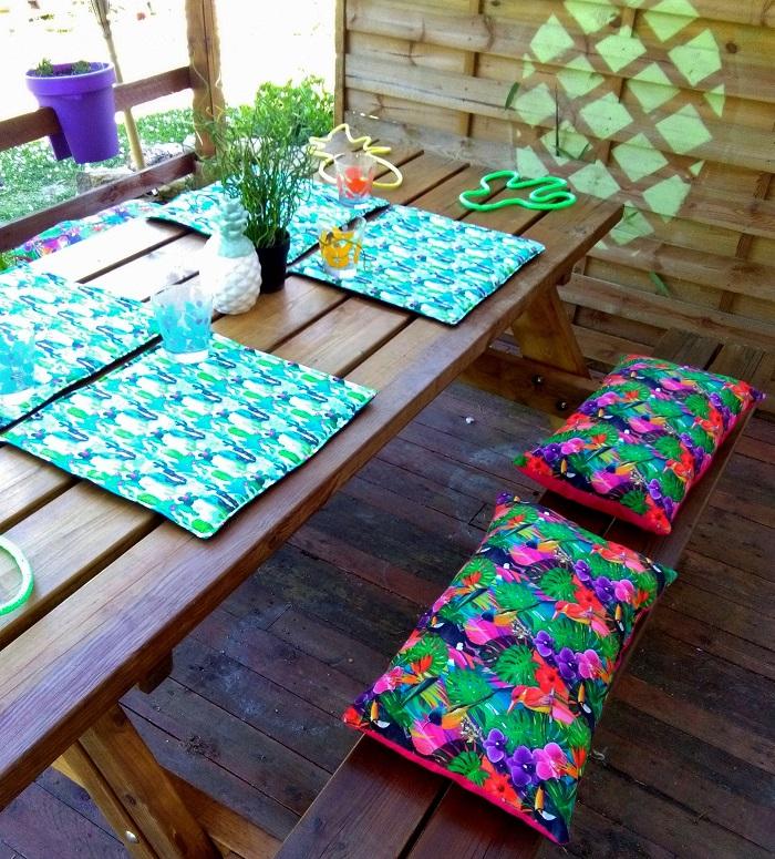 coussin rectangle pour table de pic nic