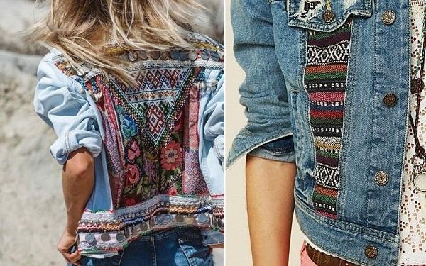 customiser veste en jean bohème